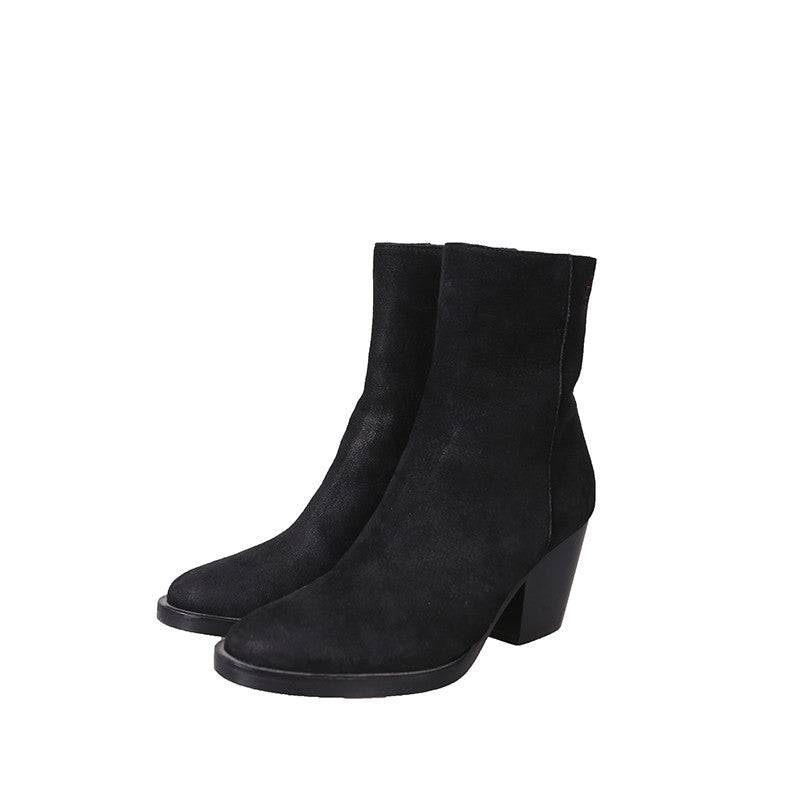 A.F.VANDEVORST 15AW CHUNKY-HELLED REVERSE LEATHER ANKLE BOOT