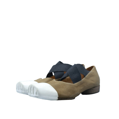 UMA WANG TWO-TONE LEATHER BALLERINA BALLET SHOES