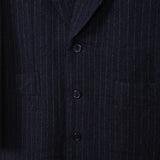 COMME DES GARCONS 14AW WOOL BLEND PINSTRIPE BUTTON DOWN COAT