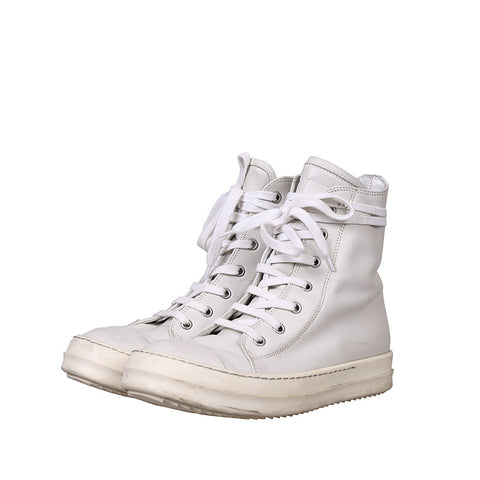 RICK OWENS RAMONES HIGH-TOP CALF LEATHER SNEAKERS