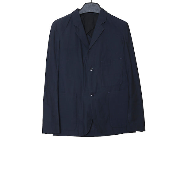 CHRISTOPHE LEMAIRE SS15 MIDNIGHT BLUE COTTON SOFT BLAZER WITH PATCH POCKETS
