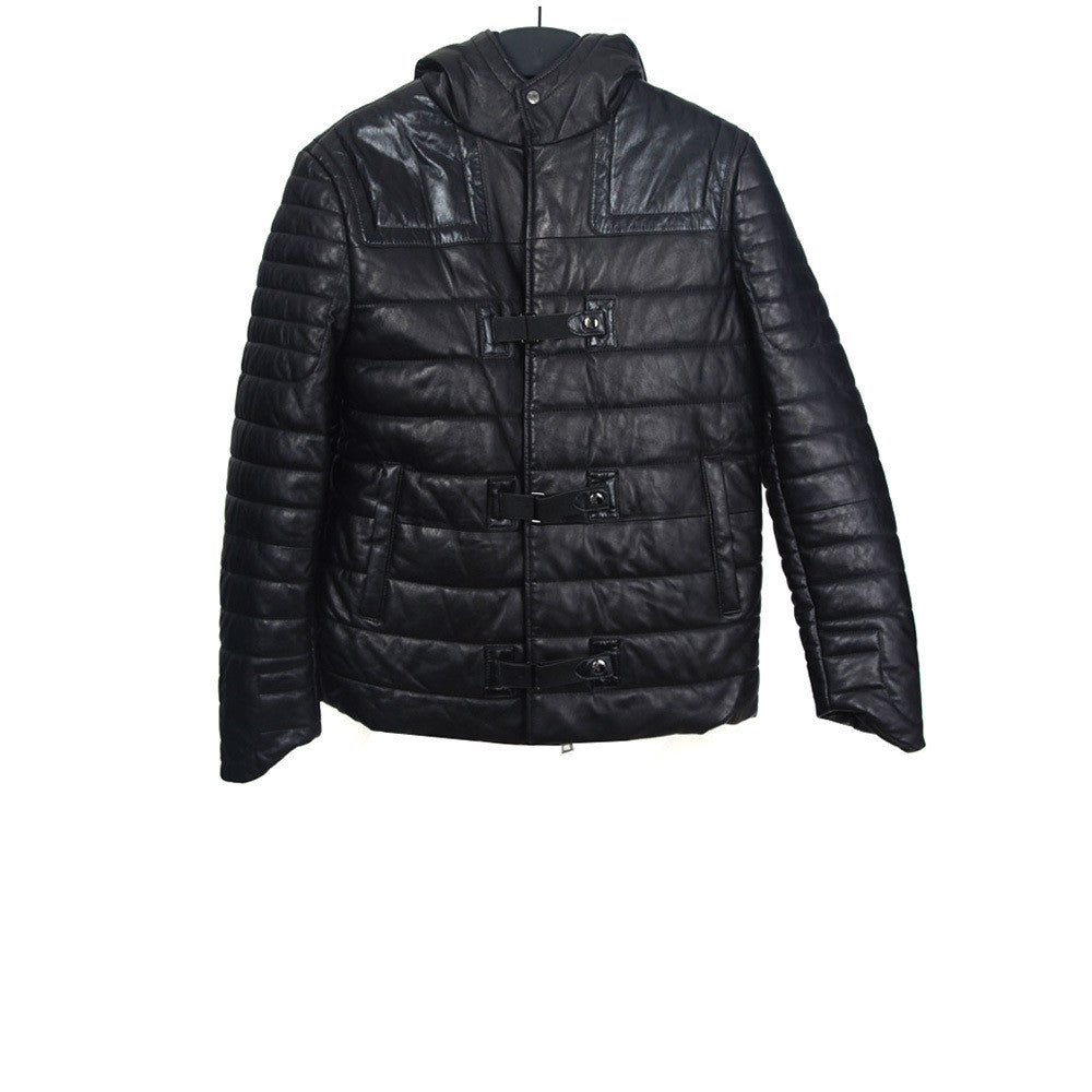 VERSACE CASHMERE PADDED LEATHER RIDER JACKET