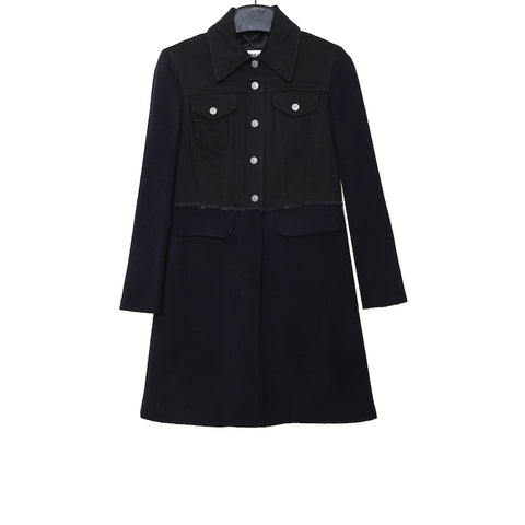 MM6 MAISON MARGIELA SS17 BLACK DENIM FUSED WOOL BLEND LONG COAT