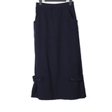 Y'S BY YOHJI YAMAMOTO 3/4 PENCIL SKIRT WITH SIDE BUTTON STRAP DETAIL