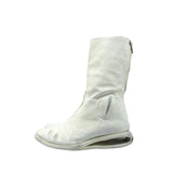 CAROL CHRISTIAN POELL WHITE AM/2688 U- SOLE DIAGONAL ZIP LETHER BOOT