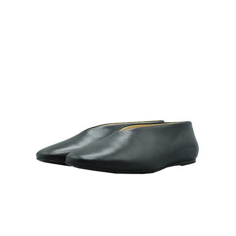 CHRISTOPHE LEMAIRE BLACK COW LEATHER FLAT SLIP ON SHOES