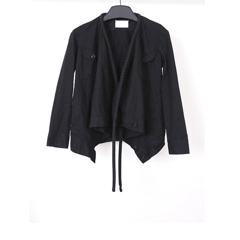 MAISON MARTIN MARGIELA DRAWSTRING NECK BUTTON DOWN JACKET