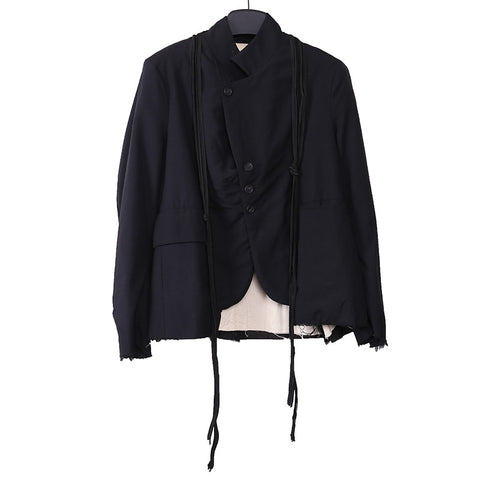 ELENA DAWSON WOOL RAW LAYER BLAZER WITH ATTACHED SILK RIBBONS