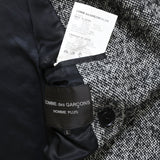 COMME DES GARCONS HOMME PLUS AW12 GREY WOOL DOUBLE-BREASTED  PONCHO COAT