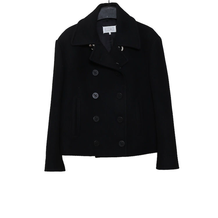 MAISON MARGIELA BLACK WOOL DOUBLE-BREASTED SHORT COAT