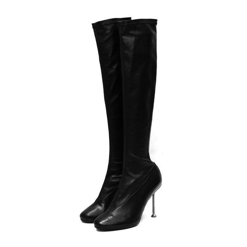 MAISON MARTIN MARGIELA OVER THE KNEE TALL BOOT W/ NAIL HEEL