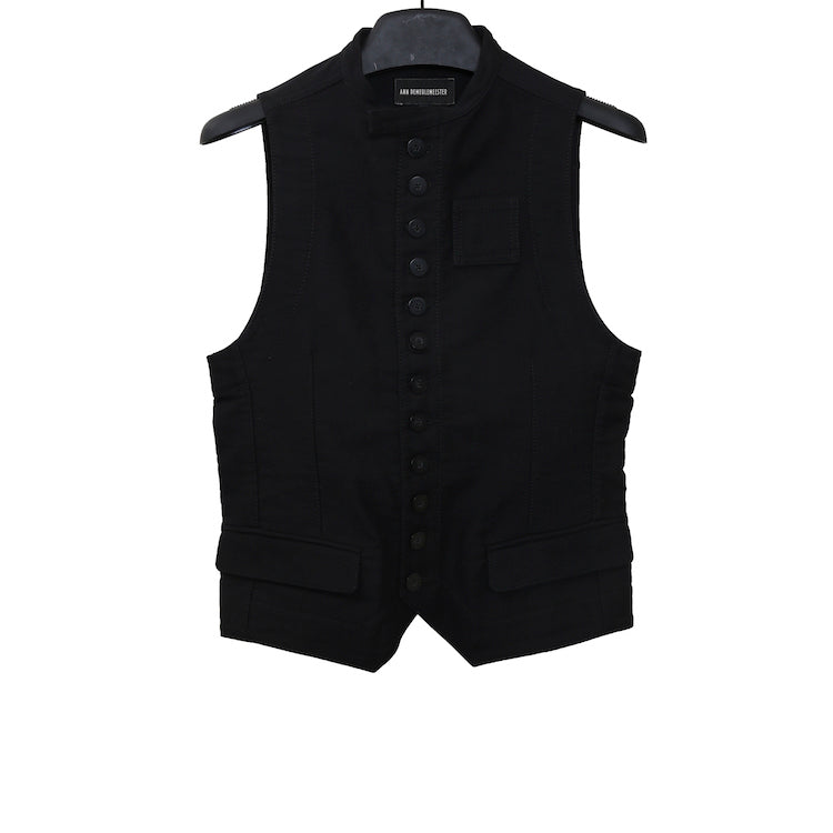 ANN DEMEULEMESTER AW15 BLACK COTTON BUTTON UP VEST
