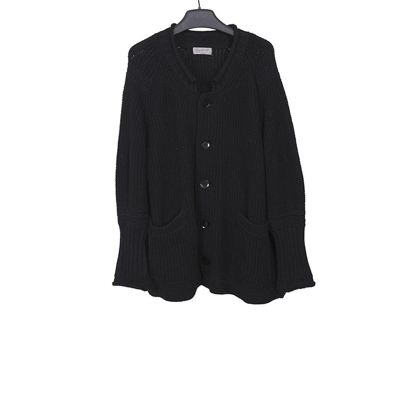 YOHJI YAMAMOTO WOOL KNIT BUTTON DOWN SHORT CARDIGAN
