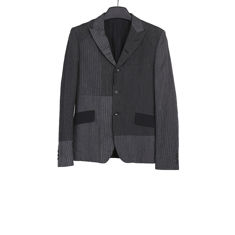 COMME DES GARCONS HOMME 10SS LINEN BLEND CONSTRAST STRIPPED JACKET
