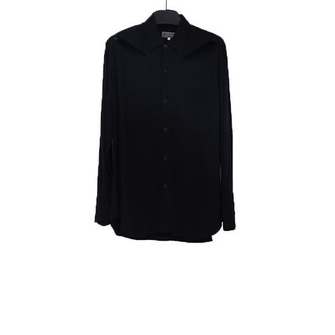 YOHJI YAMAMOTO 14SS BLACK RAYON SHIRT WITH TWO CUT OUT DETAIL