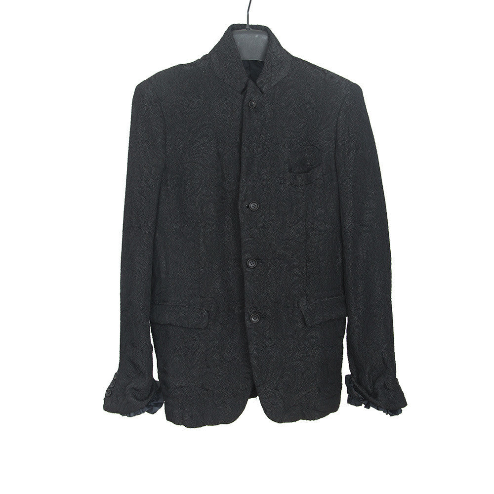 COMME DES GARCONS AW11 JAQUARD BLAZER WITH RUFFLE CUFFS & INTERIOR