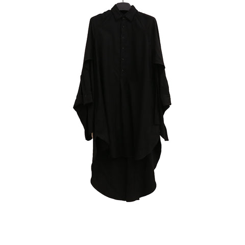 YOHJI YAMAMOTO+ NOIR AW17 KNEE- LENGTH LONG WOOL SHIRT DRESS