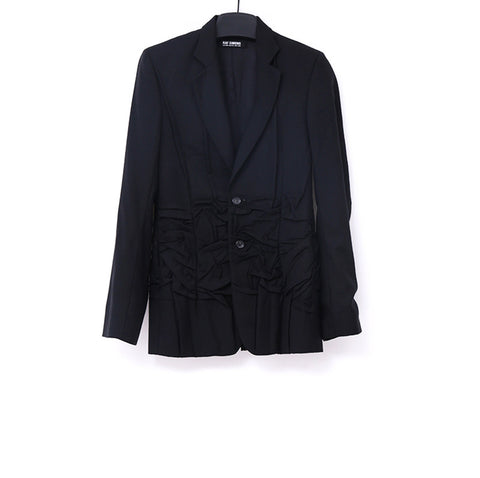 RAF SIMONS 08AW TWO BUTTON WOOL BLAZER WITH HALF DOWN FOLDED DETAIL