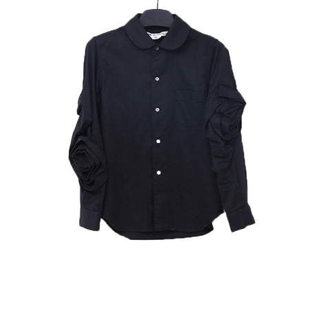COMME DES GARCONS 13AW BLACK COTTON BUTTON UP SHIRT WITH TWO SIDE FLORAL DETAIL