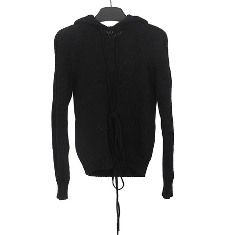 DIOR HOMME HEAVY WOOL KNIT SWEATER W/ OVERSIZED HOOD & STRINGS