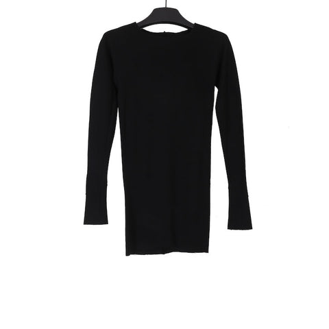 M.A+ TW211DL-JWM BLACK WOOL ONE PIECE LONG SLEEVE TOP