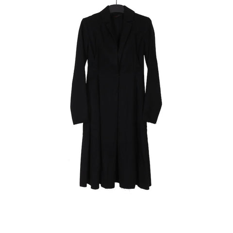 M.A+ CW191 BLACK WOOL HOOK CLOSURE LONG COAT