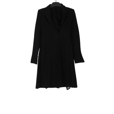 M.A+ CW121-WPK BLACK FITTED COAT W/ HOOD LINING