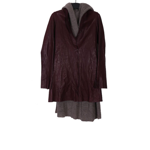 M.A+ JW121L WINE LEATHER LONG JACKET