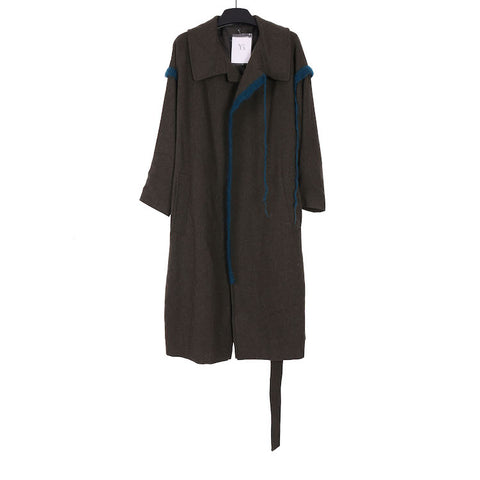 Y'S AW18 YV-C13-103 U-GOWN DARK GREEN WOOL COAT WITH FRINGES