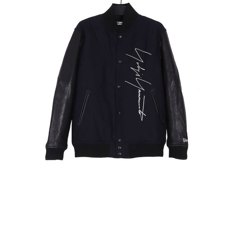 YOHJI YAMAMOTO AW18 HV-Y30-811 BLACK WOOL / SHEEP SKIN NEW ERA EMBROIDERY BOMBER JACKET