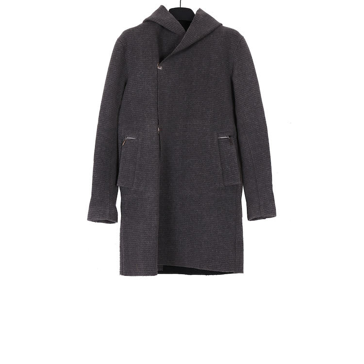 TAICHI MURAKAMI AW17 HOODED COAT IN WOOL WITH RAMIE