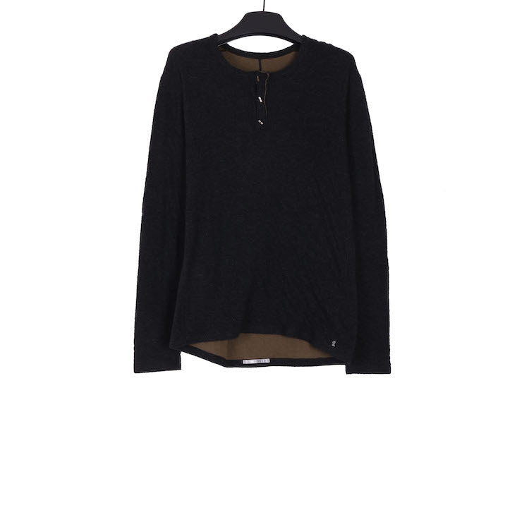 TAICHI MURAKAMI AW18 LONG SLEEVE HENRY NECK T-SHIRT IN CASHMERE COTTON