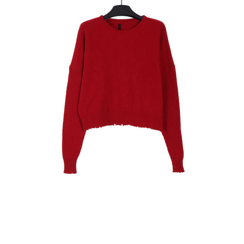 UNRAVEL PROJECT AW18 RED RIB OVERSIZE CHOPPED CREW KNIT SWEATER