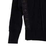 UNRAVEL PROJECT AW18 BLACK COTTON TERRY B OPEN BUTTON HOODIE