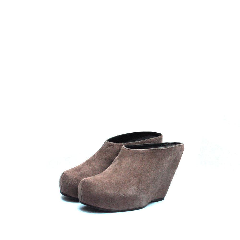 RICK OWENS REVERSED SUEDE LEATHER WEDGE