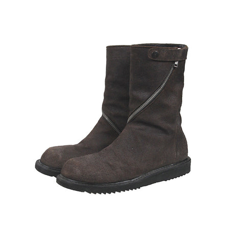RICK OWENS SUEDE CREEPER BOOTS WITH CURVE ZIP