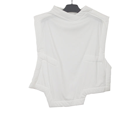 COMME DES GARCONS 14SS WHITE POLYESTER OUTLINE V-NECK TOP