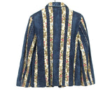 TRICOT COMME DES GARCONS 02AW DENIM / RAYON REWORK EMBROIDERED BUTTON UP JACKET