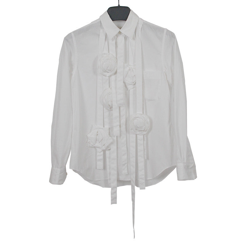 COMME DES GARCONS 15SS COTTON ROSE APPLIQUE BUTTON UP SHIRT
