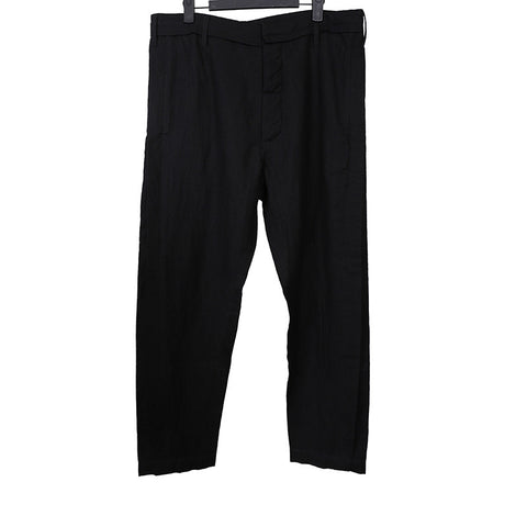 ANN DEMEULEMEESTER LAINE WOOL BLEND FRONT BUTTON CLOSURE STRAIGHT LEG PANTS