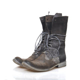 LAYER-0 REVERSE AND CORDOVAN REMIX LEATHER HIGH TOP LACE UP BOOTS