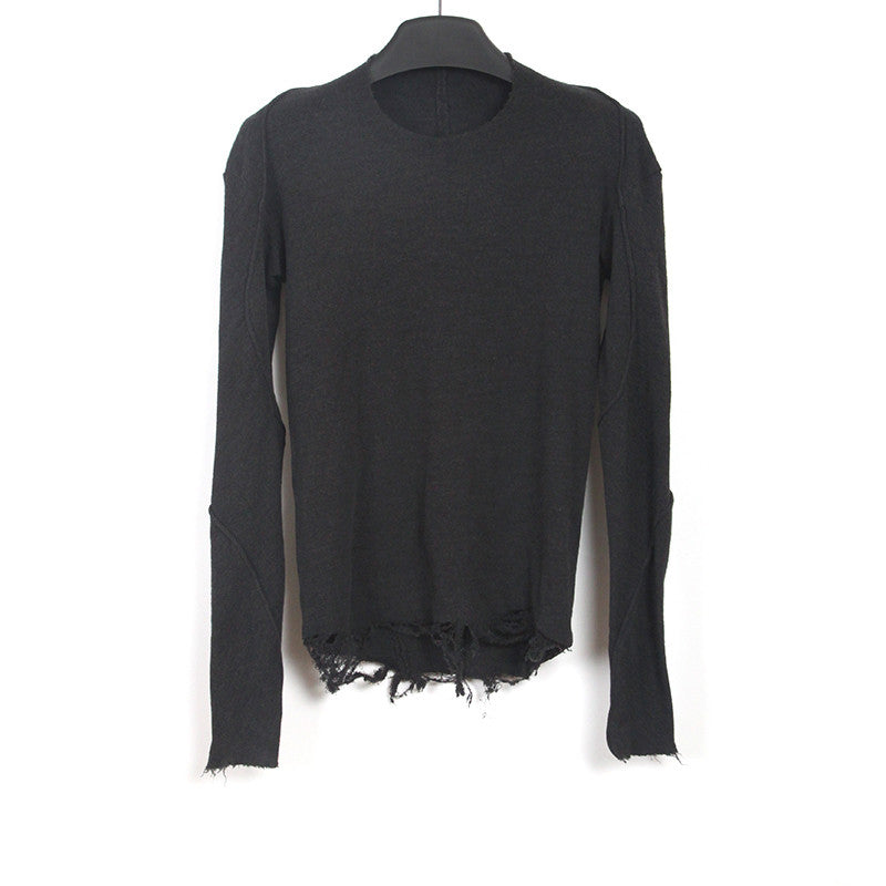 DEVOA DECONSTRUCTED SWEATER WITH RIPPED BOTTOM HEM