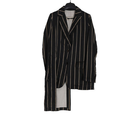 UMA WANG SS17 WOMENSWEAR BLACK AND TAN STRIPE PACO JACKET