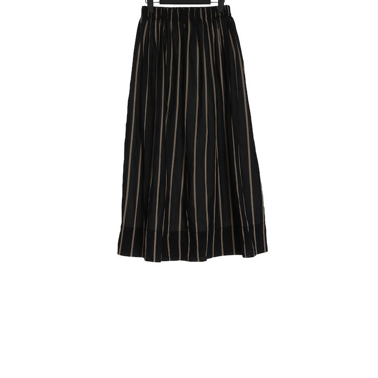 UMA WANG SS17 WOMENSWEAR BLACK AND TAN STRIPE AGO SKIRT