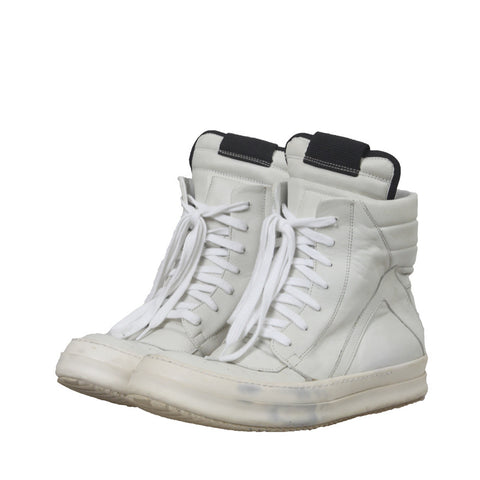 RICK OWENS ORIGINAL LEATHER GEO BASKET HIGH-TOP SNEAKER