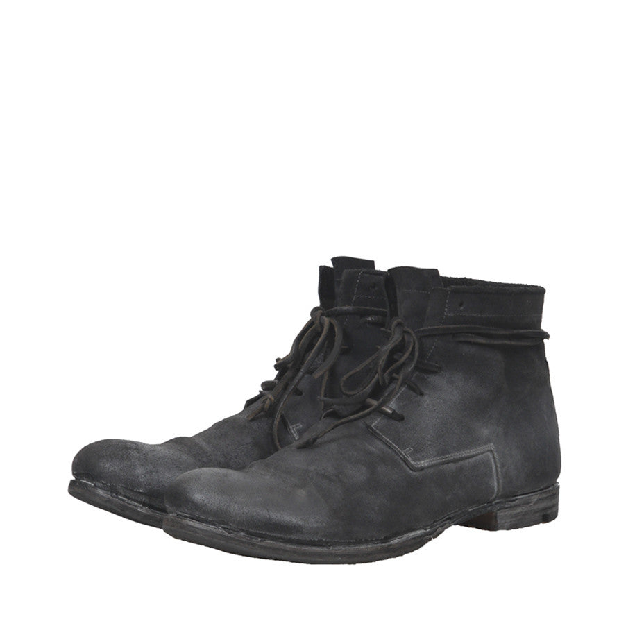 LAYER-0 REVERSE LEATHER MID-TOP LACE UP BOOTS