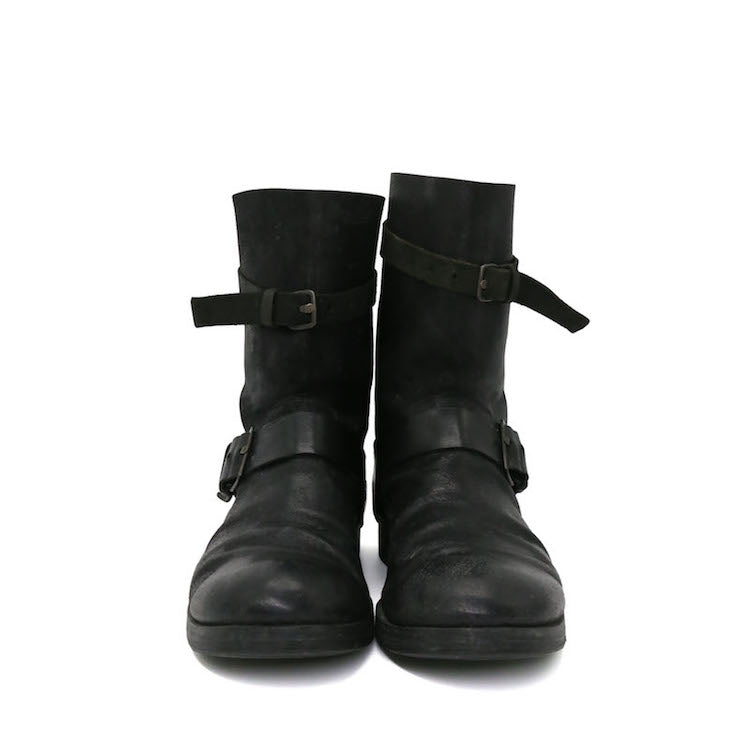 M.A+ MAURIZIO AMADEI COW LEATHER DOUBLE  BUCKLED BOOTS