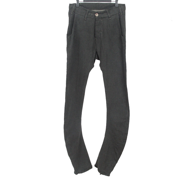 BORIS BIDJAN SABERI BBS 12AW COTTON PIECE DYED CURVE LEG PANTS