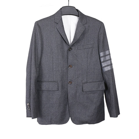 THOM BROWNE ARMBAND STRIPED TWO BUTTON CLOSURE FLANNEL BLAZER