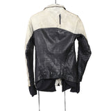 BORIS BIDJAN SABERI 14SS OILED BLOCK PANELED HIGH NECK ZIP UP LEATHER JACKET